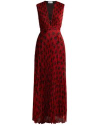 Raquel Diniz Mika Floral Print Pleated Dress - Red