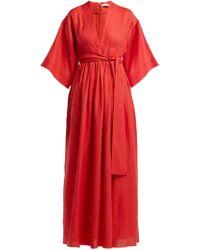 Three Graces London Robe en lin à ceinture Ferrers - Rouge