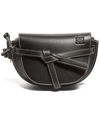 Loewe Gate Mini Woven-leather Belt Bag - Black