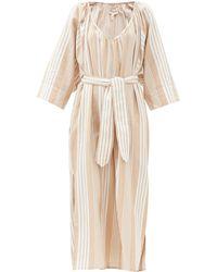 Mara Hoffman Luz Gathered V-neck -blend Midi Dress - Natural