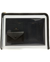 Anya Hindmarch Clear Vinyl And Black Leather Envelope Folio Case