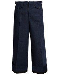N°21 Turn-up Wide-leg Cropped Jeans - Blue