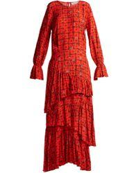 Preen Line - Amina Floral Print Tiered Dress - Lyst