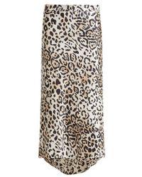 Raey - Bias Godet Leopard-print Twill Slip Skirt - Lyst