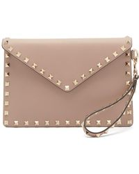 Valentino Rockstud Leather Envelope Clutch - Multicolor