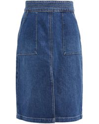 FRAME Trapunto Topstitched Denim Midi Skirt - Blue