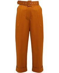 Isa Arfen High-rise Cotton-blend Pants - Brown