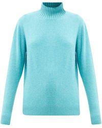 The Elder Statesman Oversized High-neck Cashmere Jumper - Blue