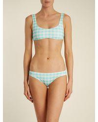 Solid & Striped Haut de bikini à motif vichy The Elle - Bleu