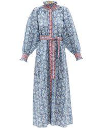 Muzungu Sisters Alice Hand-embroidered Linen Maxi Dress - Blue