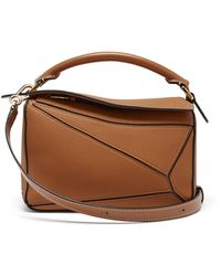 Loewe Puzzle Small Grained-leather Cross-body Bag - Brown