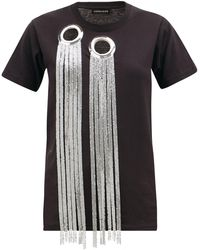 Germanier Eyelet And Chainmail-embellished Cotton T-shirt - Black