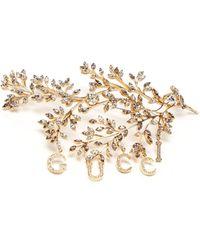 Gucci Crystal-embellished Floral-logo Brooch - Metallic