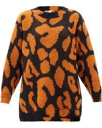Stella McCartney Pull à jacquard léopard et ourlet asymétrique - Multicolore