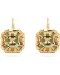 Retrouvai Tourmaline & 14kt Gold Drop Earrings - Metallic