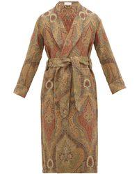 Emma Willis Antique Paisley Wool-jacquard Robe - Multicolour