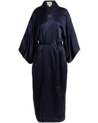 Chufy Embroidered Silk Kimono Style Jacket - Blue