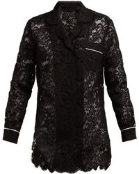 Dolce & Gabbana - Floral Lace Piped Pajama Top - Lyst