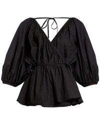 Cecile Bahnsen Aina Wrap Front Cotton Poplin Blouse - Black