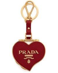 Prada - Heart Pill Saffiano-leather Key Ring - Lyst