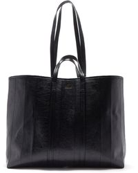 Balenciaga Barbès Cracked-leather Tote Bag - Black