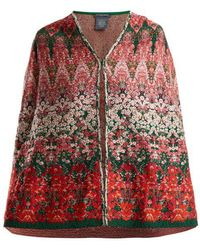 Alexander McQueen - Floral Intarsia-knit Cape - Lyst