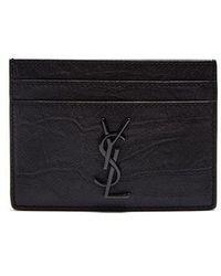 Saint Laurent - - Monogram Crocodile Effect Leather Cardholder - Mens - Black - Lyst