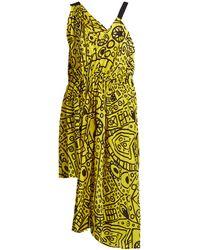 Colville Abstract-print Asymmetric Tie-waist Dress - Yellow