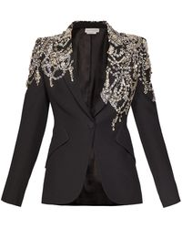Alexander McQueen Crystal Embellished Single Breasted Crepe Blazer - Black