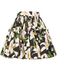 Dolce & Gabbana Lily Print Cotton Poplin Mini Skirt - Black