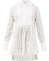 Marina Moscone ストライプ コットンブレンドチューニックシャツ - ホワイト