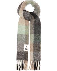 Acne Studios - Écharpe à carreaux à empiècement logo Vally - Lyst