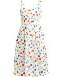 HVN Laura Cherry Print Cotton Blend Dress - Multicolour
