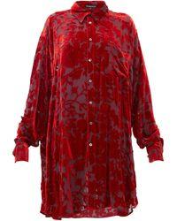 Ann Demeulemeester Floral Devoré-velvet Blouse - Red