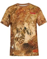 Heron Preston Logo Printed Camouflage Cotton Jersey T Shirt - Natural