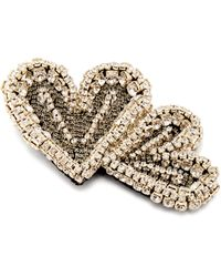 Rochas Double Heart Crystal Embellished Brooch - Multicolour