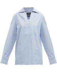A.P.C. Roma ストライプ オーバーサイズコットンシャツ - ブルー