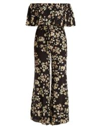 Athena Procopiou - Wild Grace Off-the-shoulder Silk Jumpsuit - Lyst