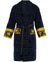 Versace I Love Baroque Logo Jacquard Cotton Bathrobe - Blue