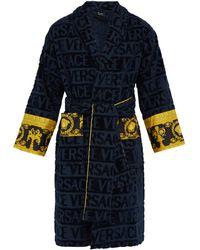 Versace I Love Baroque Logo-jacquard Cotton Bathrobe - Blue