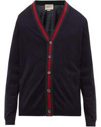 Gucci Web Stripe Wool-knit Cardigan - Blue