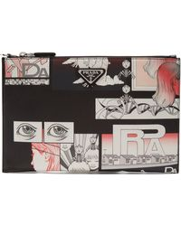 Prada | Comic-print Leather Pouch | Lyst