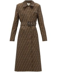 Fendi Ff-jacquard Belted Canvas Trench Coat - Brown