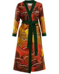 Gucci Fawn-print Tie-waist Wool-blend Robe - Multicolor