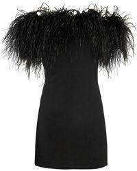 Saint Laurent - Off-the-shoulder Feather-trimmed Dress - Lyst