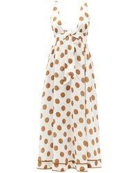 Zimmermann Empire Tie-front Polka Dot Midi Dress - Multicolour