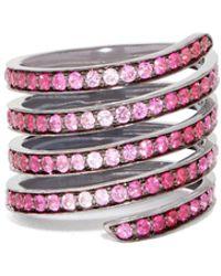 Lynn Ban - Ombré Sapphire, Ruby & Rhodium- Silver Coil Ring - Lyst