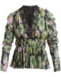 Giambattista Valli Floral Print Gathered Silk Chiffon Blouse - Green