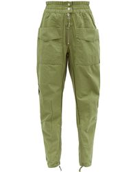 Étoile Isabel Marant Lecia Tapered Cotton-canvas Utility Pants - Green