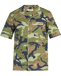 Valentino - Camouflage Print Short Sleeved Cotton Shirt - Lyst